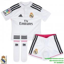 Conjunto REAL MADRID blanca 2014-2015 infantil oficial adidas (camiseta + pantalon + medias)