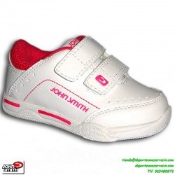 Zapatilla deporte colegio uniforme NIÑA VELCRO blanco-rosa John Smith uniforme escuela CRONOVEL