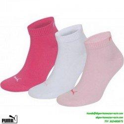 Calcetin PUMA Tobillo Fino ROSAS Pack de 3 pares mujer chica niña