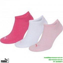 Calcetin PUMA invisible pinky por debajo del Tobillo Fino ROSAS Pack de 3 pares mujer chica niña