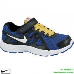NIKE REVOLUTION 2 VELCRO zapatilla DEPORTE niño junior NEGRO-AZUL infantil running correr personalizar 555083-403