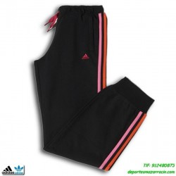 Adidas Pantalon YG ESS KN PACH chica Negro-Rosa algodon con puño Clima lite gimnasio fitness deporte chica mujer M64407