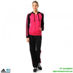 Adidas YOUNG KNIT SUIT CHANDAL MUJER rosa-negro deporte gimnasio gym training fitness chica M67642