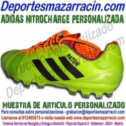 PERSONALIZAR botas de futbol ADIDAS NITROCHARGE grabar poner estampar nombre numero bandera escudo