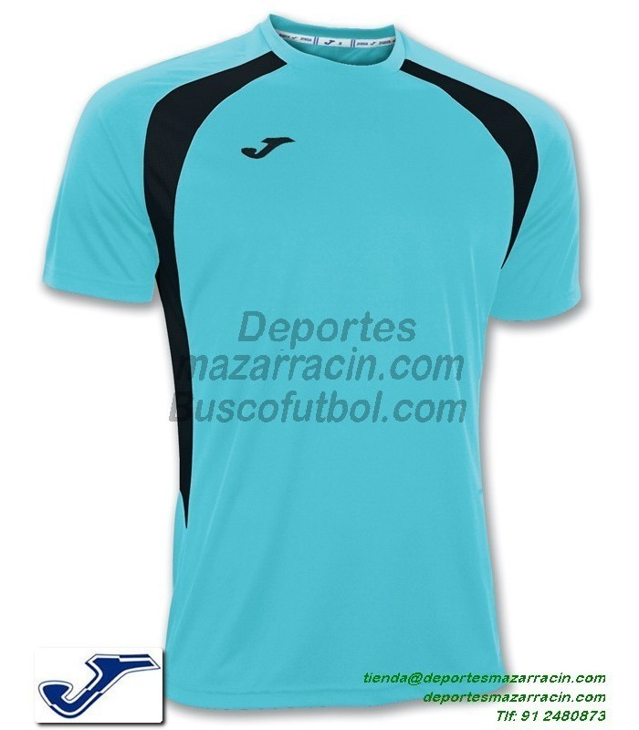 f95124f87c768 JOMA CAMISETA CHAMPION 3 color AZUL TURQUESA NEGRO Futbol Manga Corta talla  equipacion 100014.011