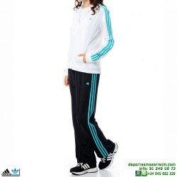 Adidas DIANA SUIT CHANDAL MUJER blanco deporte gimnasio fitness conjunto chaqueta pantalon chica M35388