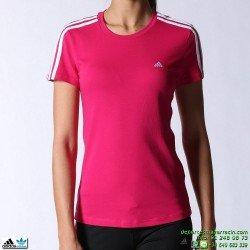 Adidas Camiseta ESS 3S TEE mujer ROSA manga corta deporte gimnasio ALGODON M66255