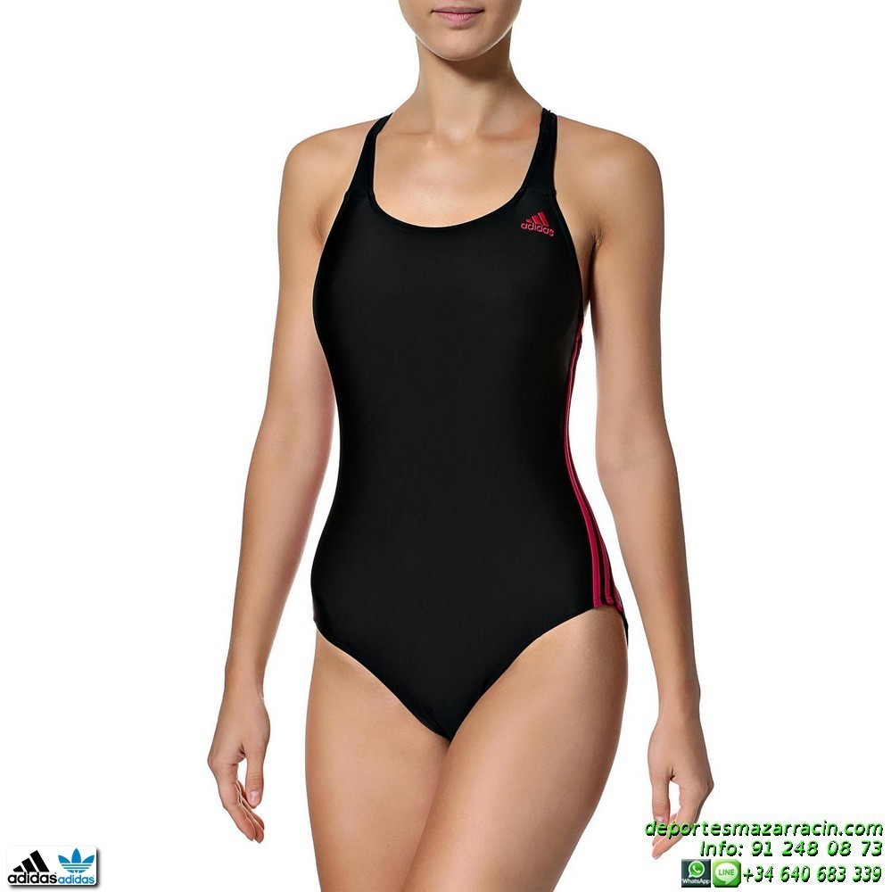 bañador adidas i 3s 1pc natacion mujer negro-rosa m67268 piscina