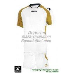 KELME CONJUNTO SABA SET color BLANCO DORADO Futbol camiseta pantalon talla equipacion hombre niño 78412-630