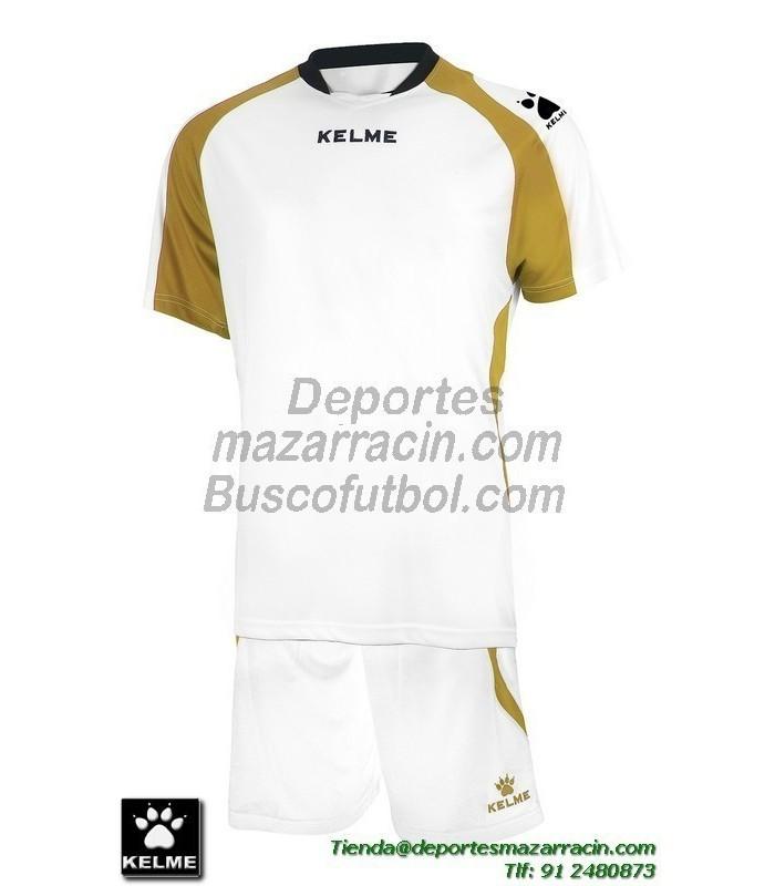KELME CONJUNTO SABA SET color BLANCO DORADO Futbol camiseta pantalon ...