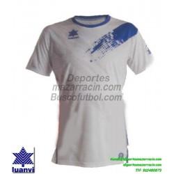 LUANVI CAMISETA PLAY Futbol color BLANCO AZUL ROYAL Manga Corta talla equipacion hombre niño 07235-1517
