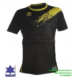 LUANVI CAMISETA PLAY Futbol color NEGRO AMARILLO Manga Corta talla equipacion hombre niño 07235-0043