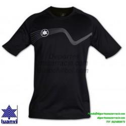 LUANVI CAMISETA STAR Futbol color NEGRO Manga Corta talla equipacion hombre niño 05646-0044