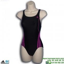 Adidas Bañador Natacion Chica I S 1PC G Negro-Rosa INFINITEX lycra S22848