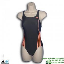 Adidas Bañador Natacion Chica I S 1PC G Gris-Naranja INFINITEX lycra s22849