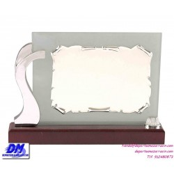 Placa de Homenaje cristal 97028 montaje chapa diferentes tamaños premio pallart grabado laser personalizado