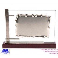 Placa de Homenaje cristal 97026 montaje chapa diferentes tamaños premio pallart grabado laser personalizado