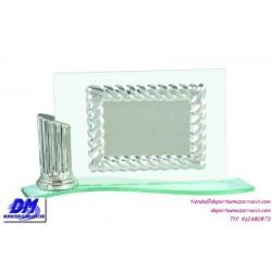 Placa de Homenaje cristal 97029 Plateado montaje chapa diferentes tamaños premio pallart grabado laser personalizado