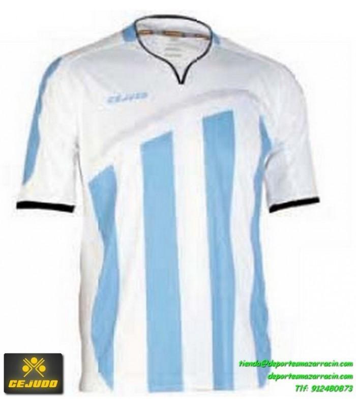 e10b8da256357 CEJUDO CAMISETA LASER RAYAS Futbol color AZUL CELESTE BLANCO Manga Corta  talla equipacion hombre niño 106231