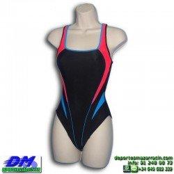 Bañador Natacion Mujer AQUA SPHERE LIMA Negro-Rosa sw0190162 lycra aqua glide anticloro piscina cubierta