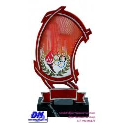 Trofeo copa con aplique 5327 economico premio deporte pallart grabado chapa personalizado