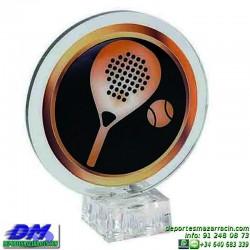 Trofeo copa con aplique 5377 economico premio deporte pallart grabado chapa personalizado