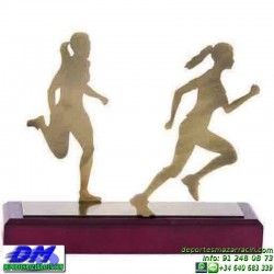 Trofeo Atletismo 5473 copa premio femenino diferentes alturas pallart metal croos atleta meta tamaños chapa grabada