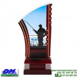 Trofeo Pesca 5533 pescador caña premio diferentes alturas pallart tamaños chapa grabada