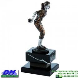 Trofeo Petanca 5565 bolas jugador premio femenino diferentes alturas pallart tamaños chapa grabada