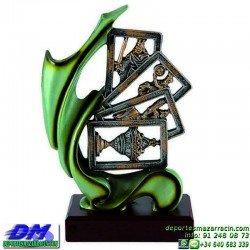 Trofeo Cartas 5589 rey mus tute premio diferentes alturas pallart mano bastos oros copas espadas baraja tamaños chapa grabada