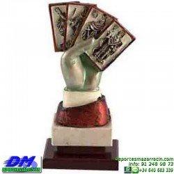Trofeo Cartas 5590 rey mus tute premio diferentes alturas pallart mano bastos oros copas espadas baraja tamaños chapa grabada