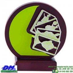 Trofeo Cartas 5591 rey mus tute premio diferentes alturas pallart mano bastos oros copas espadas baraja tamaños chapa grabada