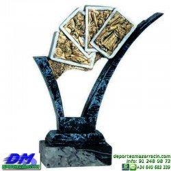 Trofeo Cartas 5592 rey mus tute premio diferentes alturas pallart mano bastos oros copas espadas baraja tamaños chapa grabada