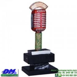 Trofeo Musica 5617 locutor microfono premio diferentes alturas pallarttamaños chapa grabada