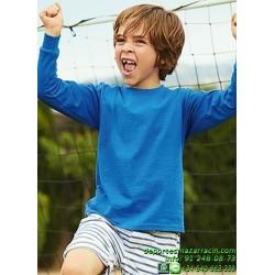 CAMISETA JUNIOR Manga Larga Economica FRUIT OF THE LOOM 61007 sport deporte niño color entrenamiento grupo peña equipo