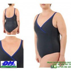Bañador Natacion SEÑORA Squba 6000 NEGRO piscina cubierta lycra mujer softee deportivo talla especial