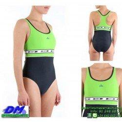 Bañador Natacion Mujer Squba 4015 EBRA VERDE-GRIS piscina cubierta lycra chica softee deportivo talla color anticloro