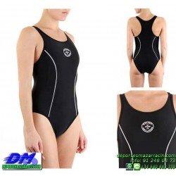 Bañador Natacion Mujer Squba 4009 NEGRO piscina cubierta lycra chica softee deportivo talla color anticloro