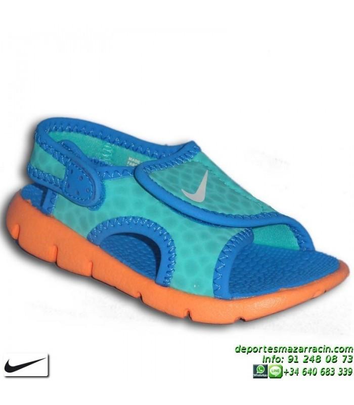 Nike SUNRAY 4 TD azul Sandalia niño velcro 386519-409 ajustable infantil piscina  playa abe1d25e2c715