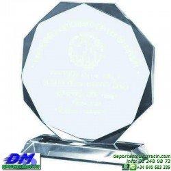 Trofeo Cristal Especial Grabación 5105 laser texto logotipo escudo diferentes alturas premio deporte pallart metacrilato