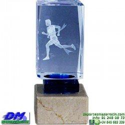 Trofeo Cristal Especial Grabación 3D 5140 laser texto logotipo escudo diferentes alturas premio deporte pallart metacrilato