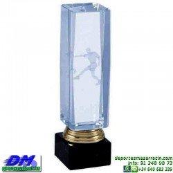 Trofeo Cristal Especial Grabación 3D 5142 laser texto logotipo escudo diferentes alturas premio deporte pallart metacrilato