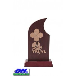 Trofeo Madera 5206 laser texto logotipo escudo diferentes alturas logotipo escudo premio deporte pallart metacrilato