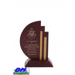 Trofeo Madera 5208 laser texto logotipo escudo premio deporte pallart metacrilato