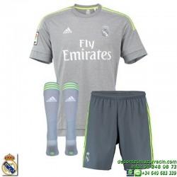 Conjunto REAL MADRID 2015-2016 Niño GRIS Adidas Oficial S21624 futbol equipacion ultima A SMU MINI cristiano bale james cr7