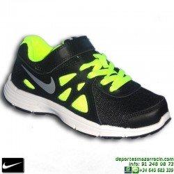 NIKE REVOLUTION 2 VELCRO zapatilla DEPORTE niño 555083-016 junior NEGRO-AMARILLO infantil running correr personalizar