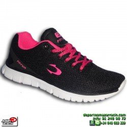 Zapatilla Deporte Mujer John Smith ROTINE 15I Negro-Rosa caminar gimnasio chica  NYLON footwear personalizable