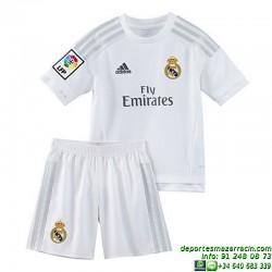 Conjunto REAL MADRID 2015-2016 Niño BLANCO Adidas Oficial S12661 futbol equipacion ultima H SMU MINI cristiano bale james