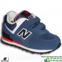 NEW BALANCE 574 INFANTIL VELCRO AZUL zapatilla Footwear MODA KG574MTI junior clasica personalizable