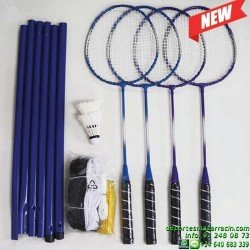 SET Badminton 4 RAQUETAS VOLANTES POSTES RED softee 0006160